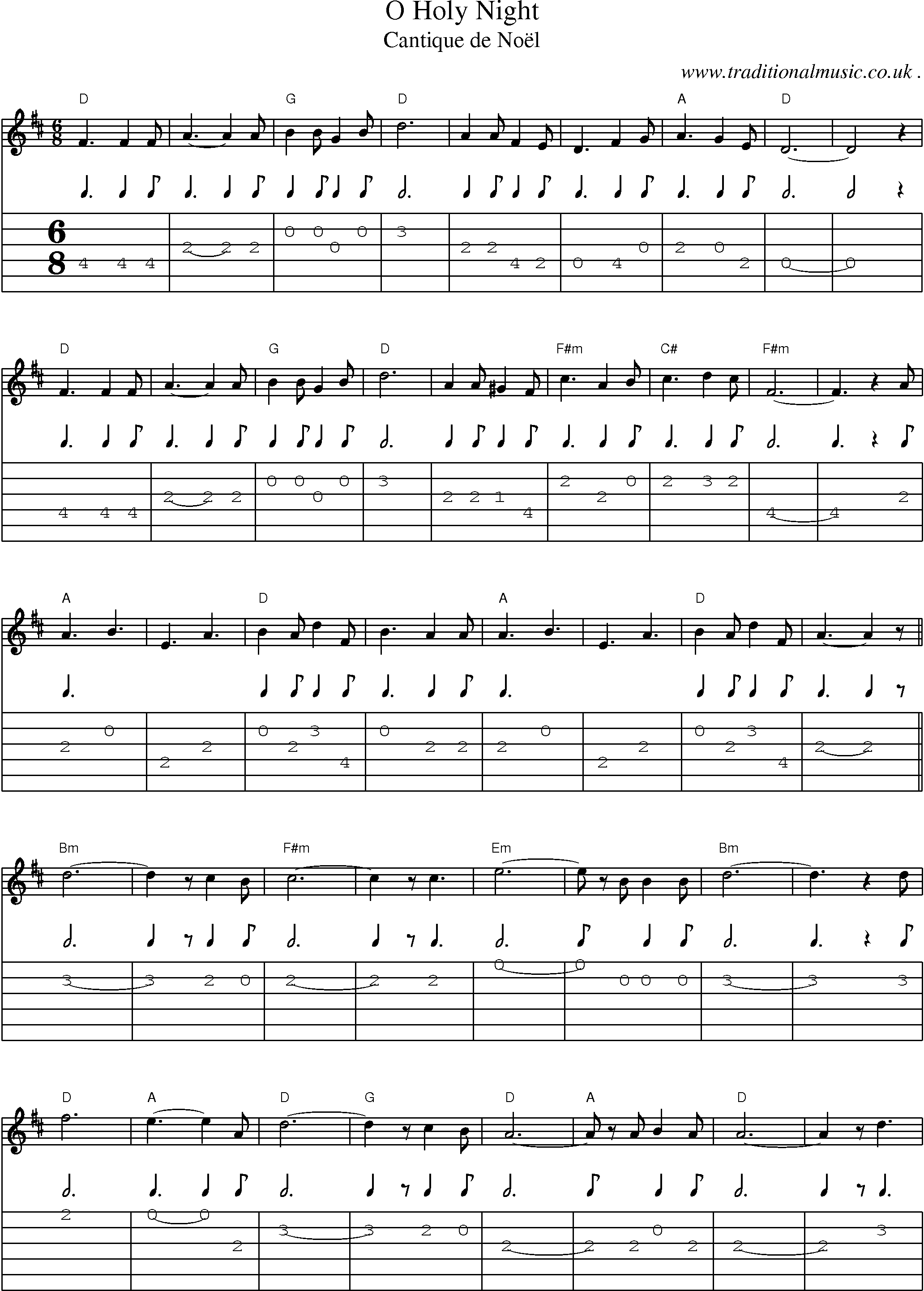 Common session tunes, Scores and Tabs for Guitar - O Holy Night