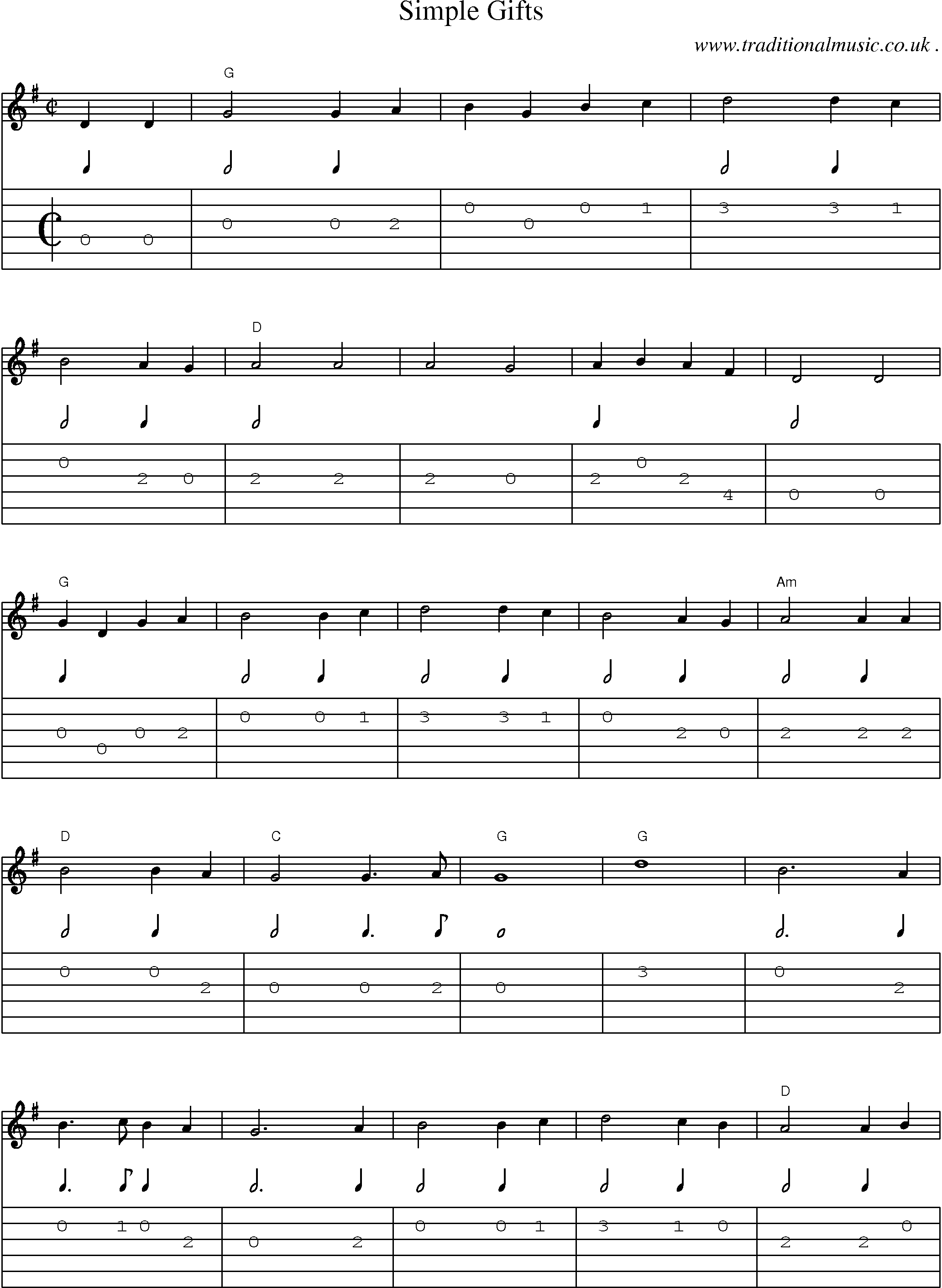 Common session tunes, Scores and Tabs for Guitar - Simple Gifts