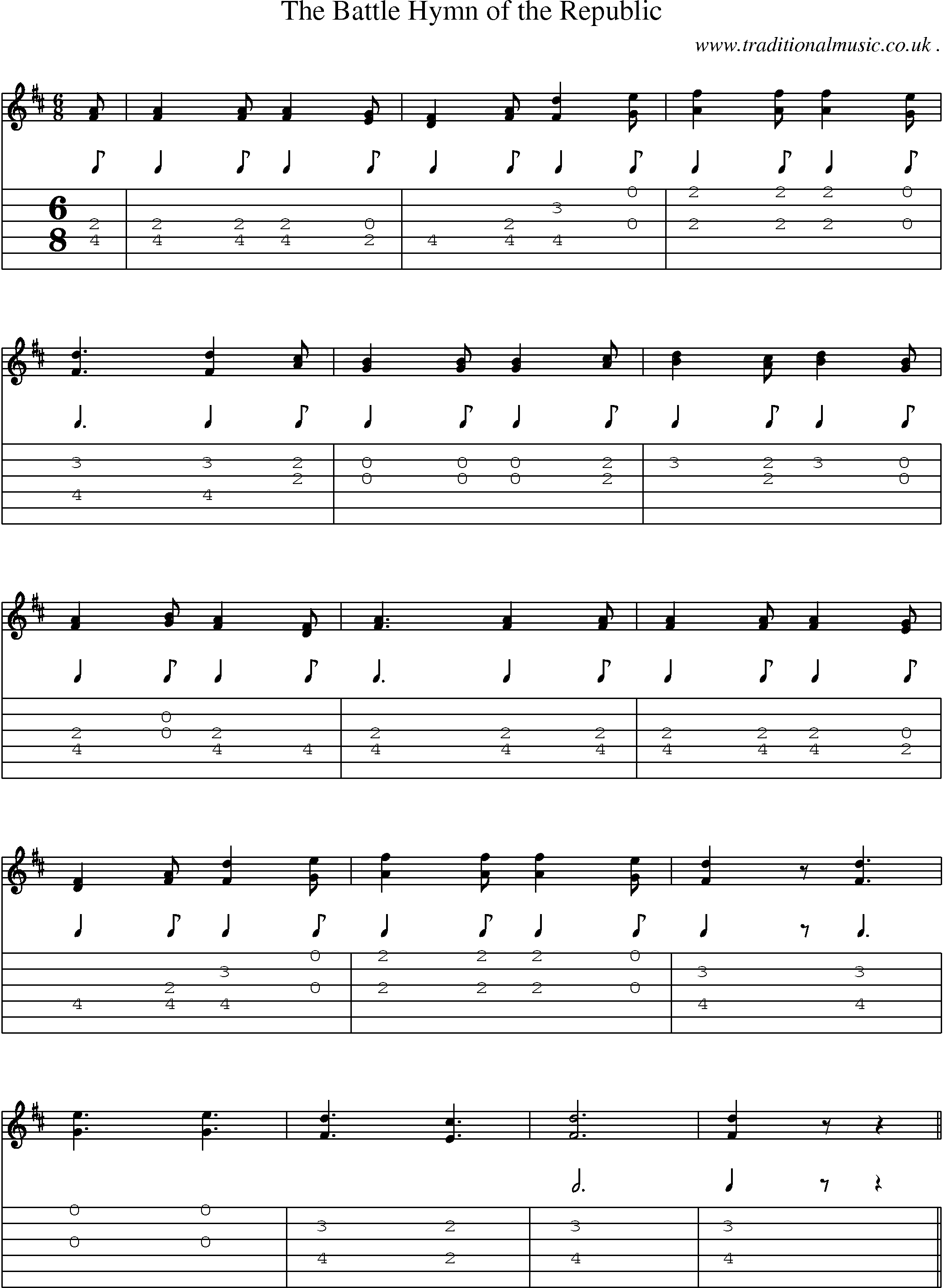 Music Score And Guitar Tabs For The Battle Hymn Of Republic