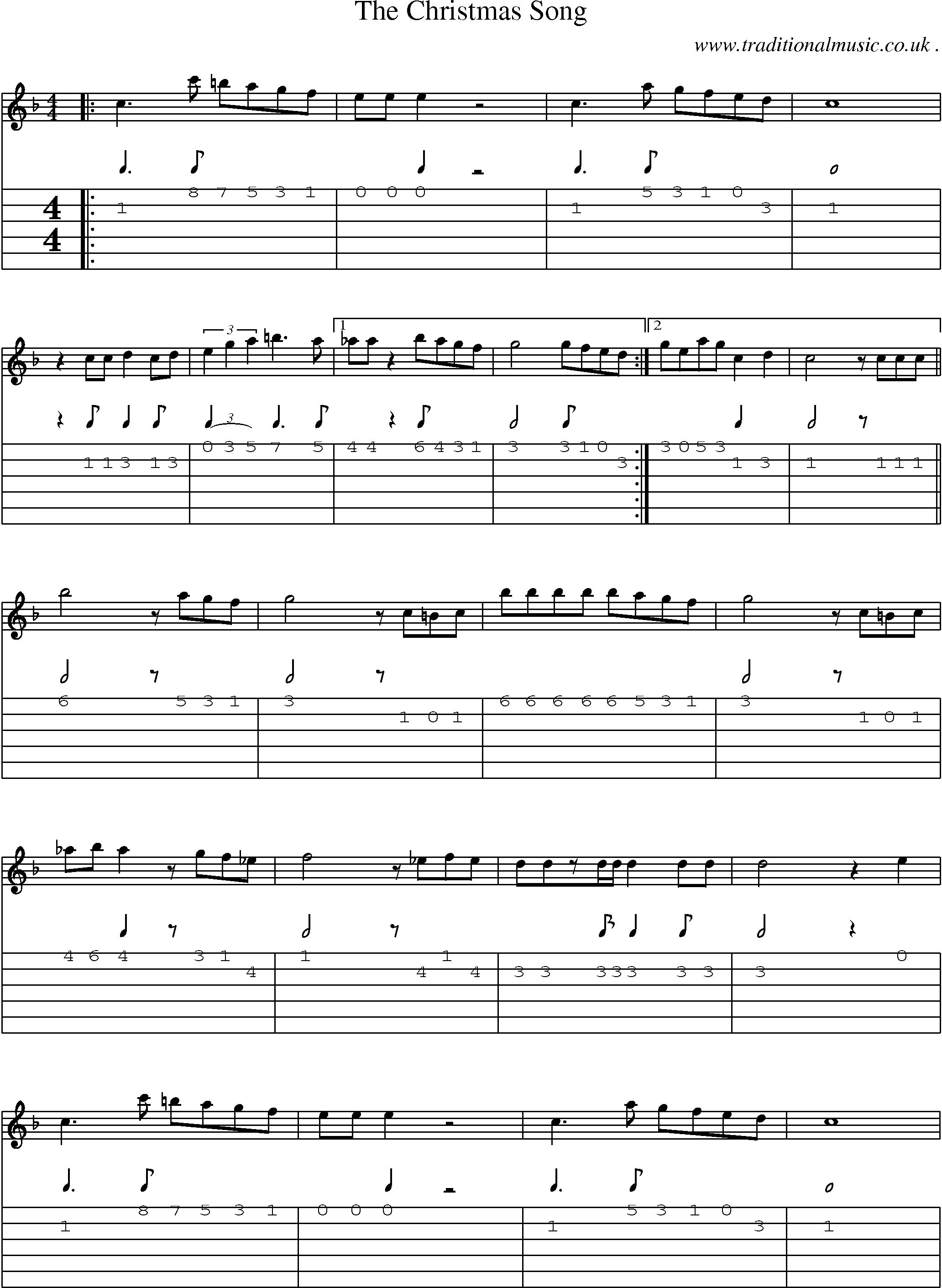 music score and guitar tabs for the christmas song - Bluegrass Christmas Songs