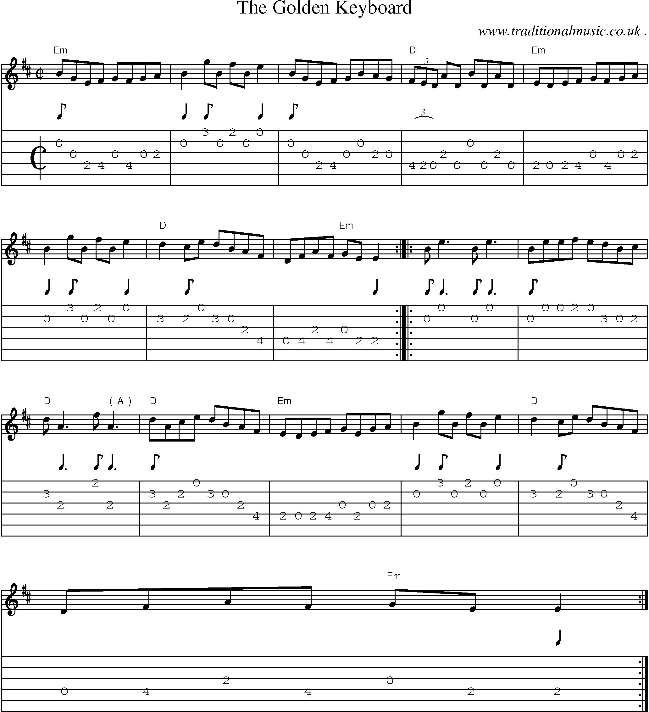 Common session tunes, Scores and Tabs for Guitar - The Golden Keyboard