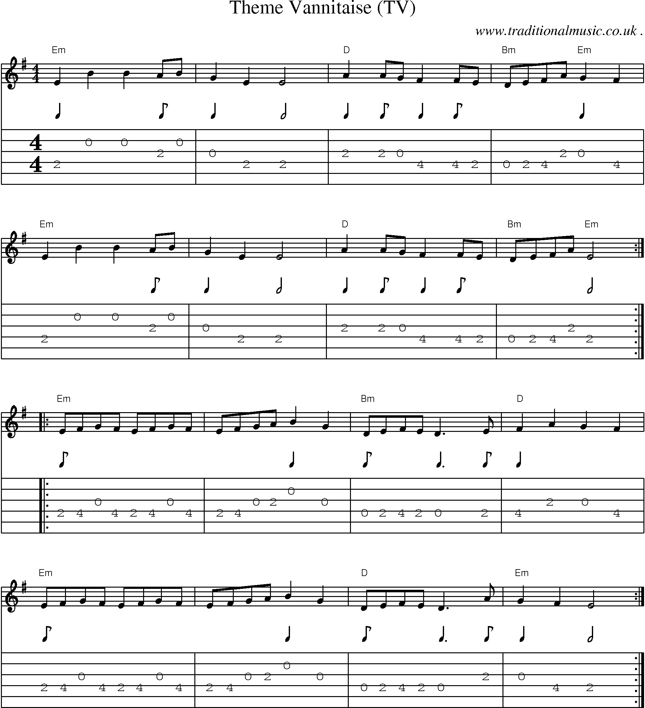 Common session tunes, Scores and Tabs for Guitar - Theme Vannitaise (TV)