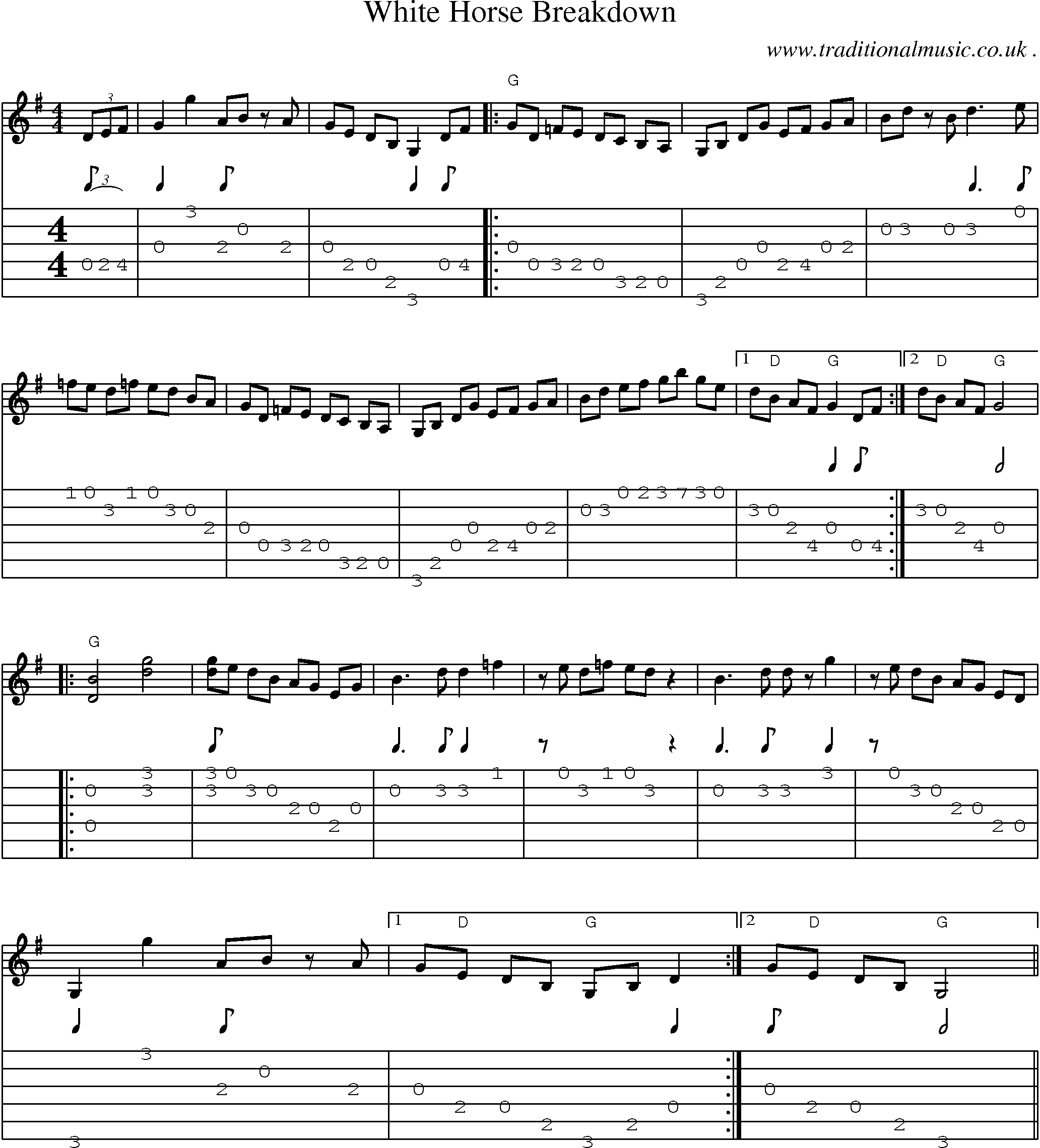 Common Session Tunes Scores And Tabs For Guitar White Horse Breakdown