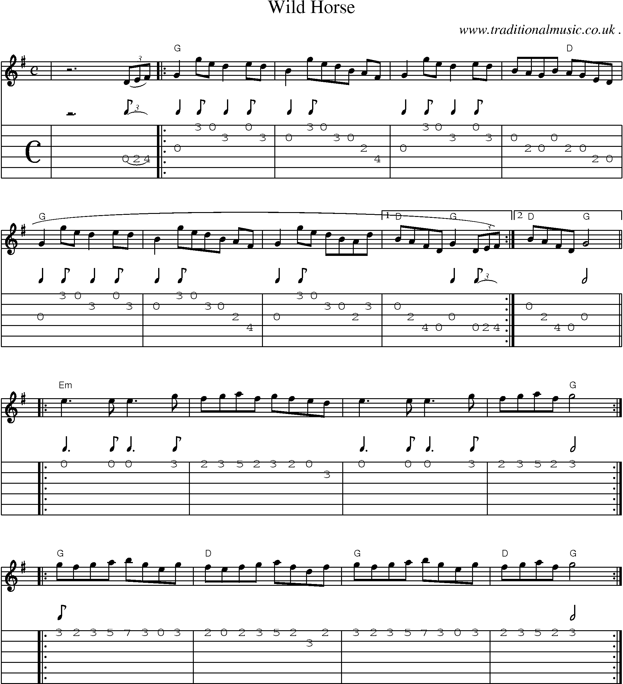 Common Session Tunes Scores And Tabs For Guitar Wild Horse