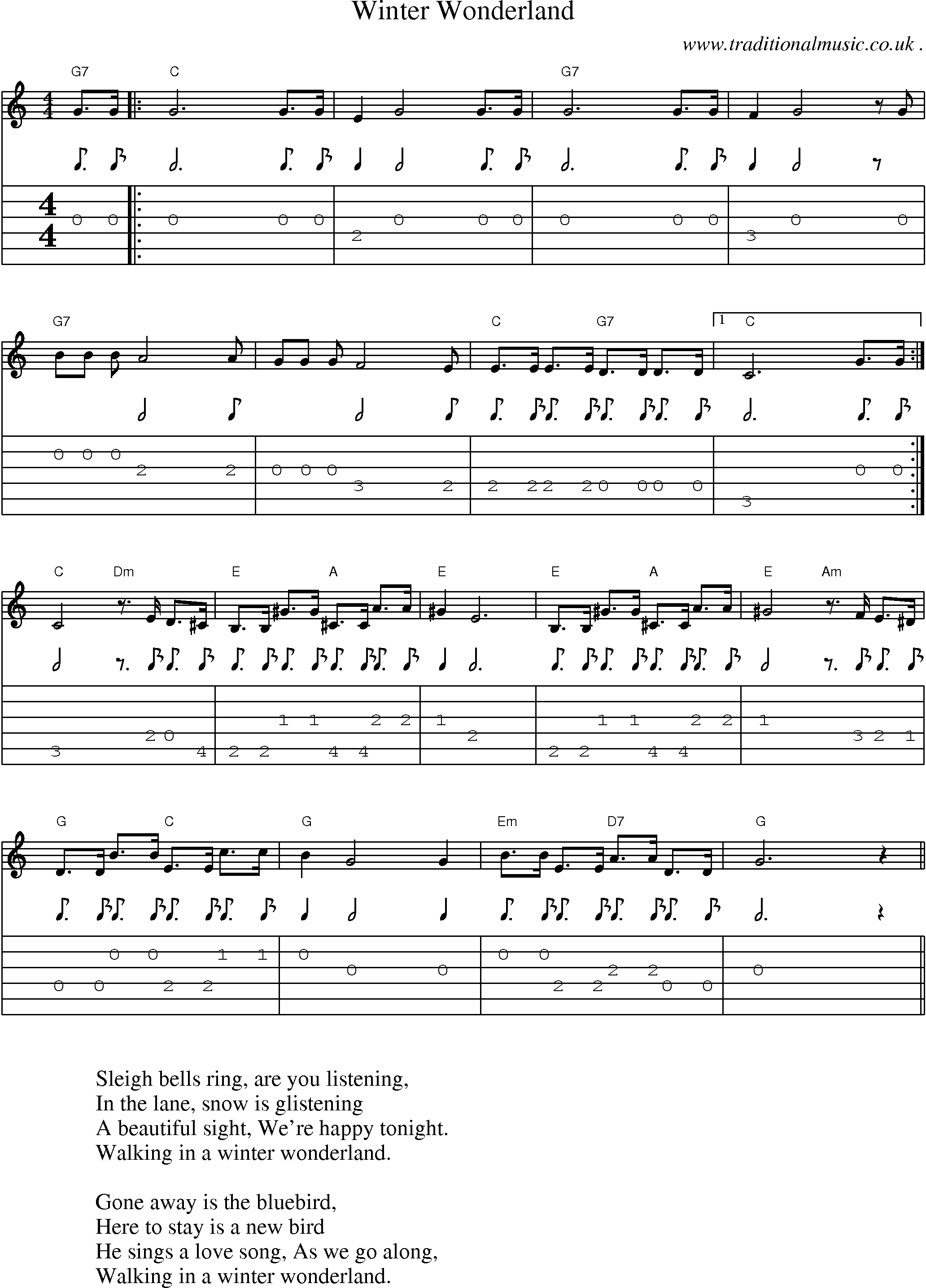 Common Session Tunes Scores And Tabs For Guitar Winter Wonderland