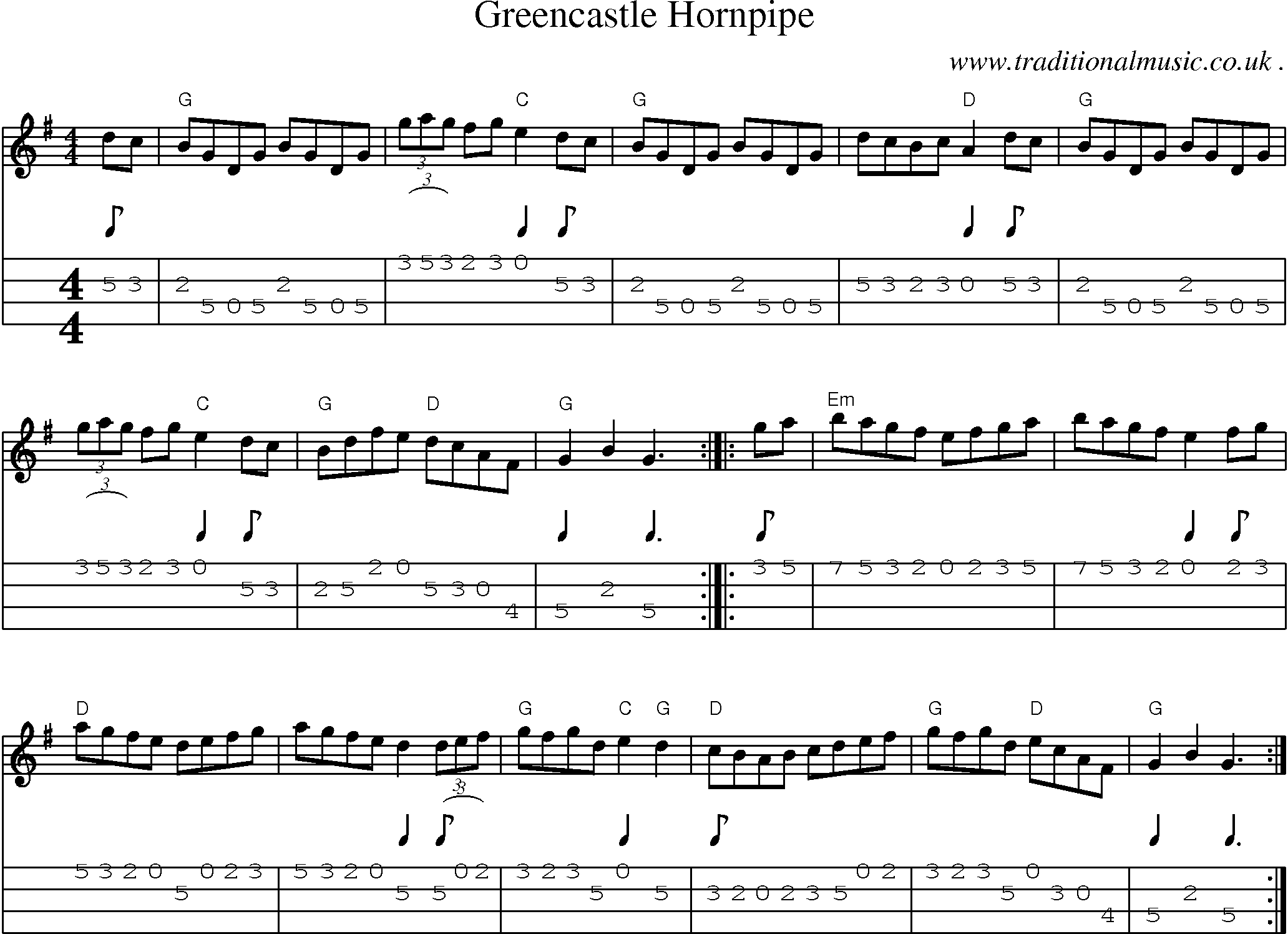 Music Score And Guitar Tabs For Greencastle Hornpipe