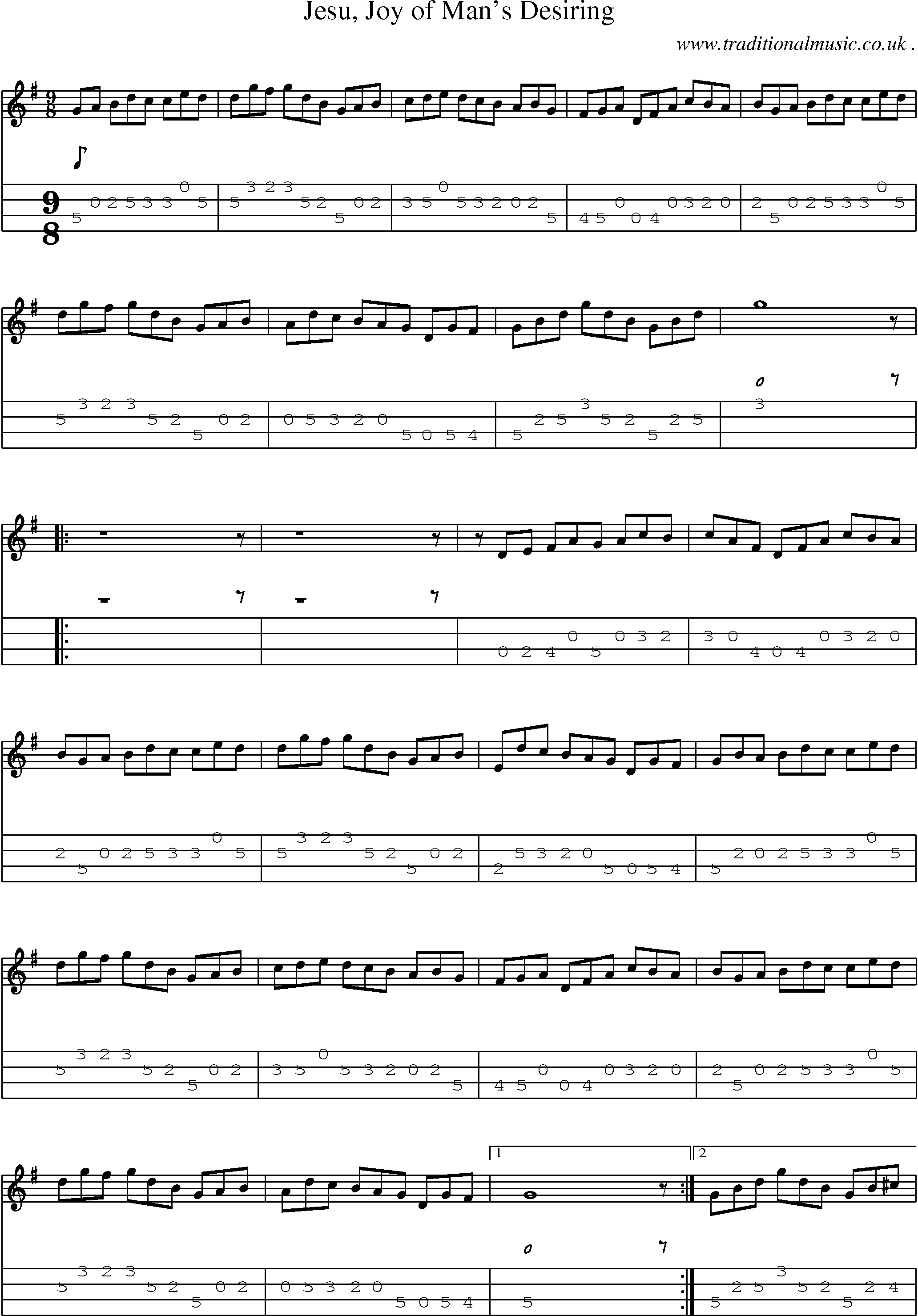 Common session tunes, Sheetmusic, Tabs for Mandolin, midi and mp3 for Jesu Joy Of Mans Desiring