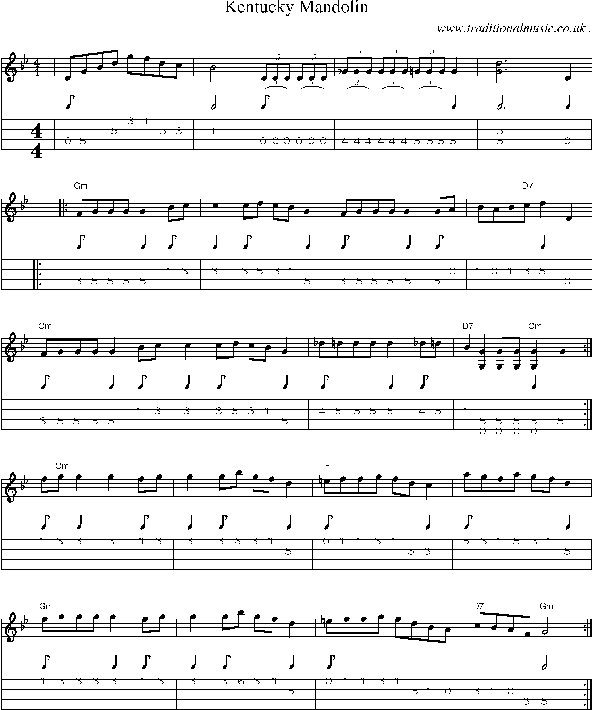 Common session tunes, Sheetmusic, Tabs for Mandolin, midi and mp3 for Kentucky Mandolin