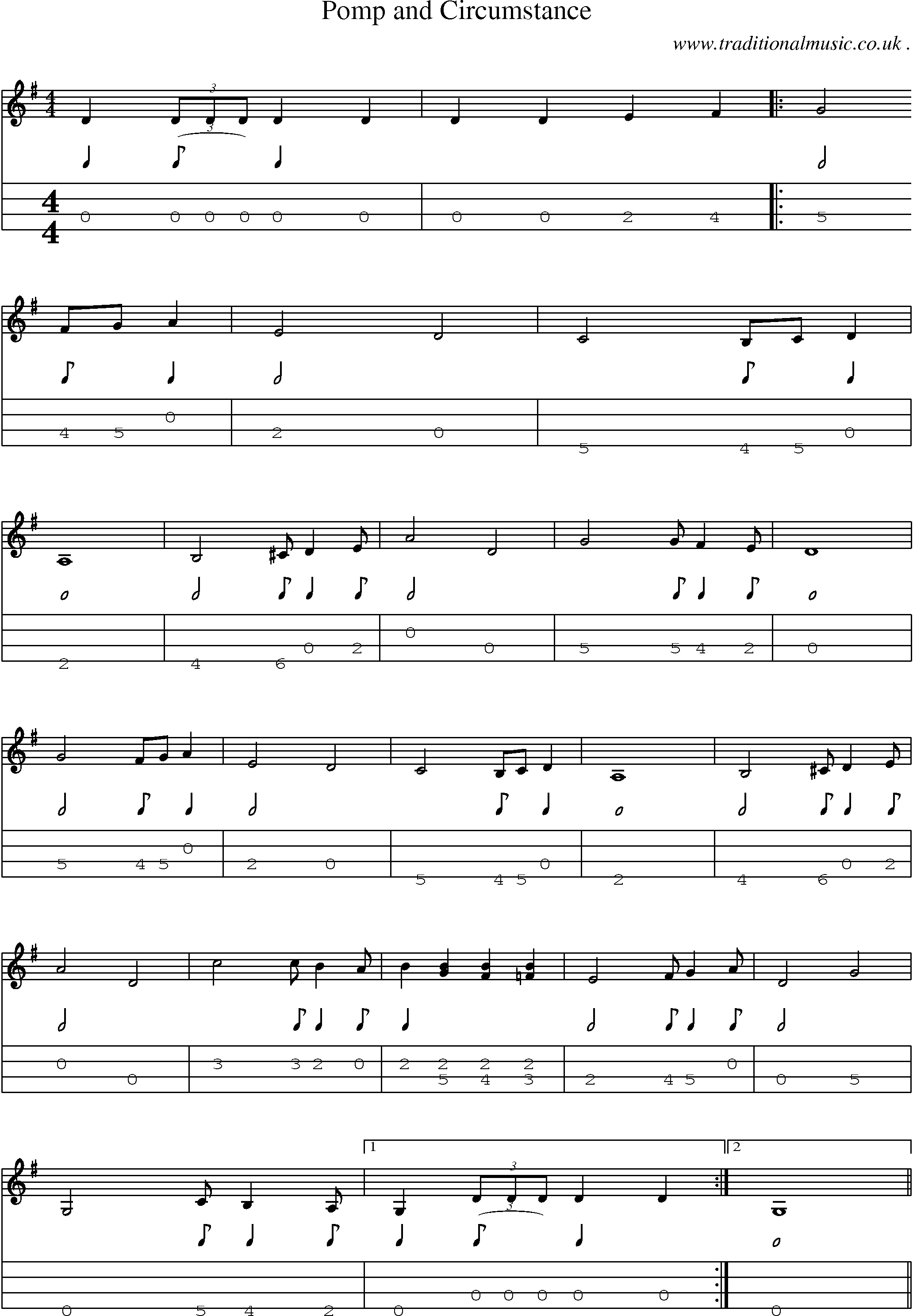Common session tunes sheetmusic tabs for mandolin midi for Pomp and circumstance
