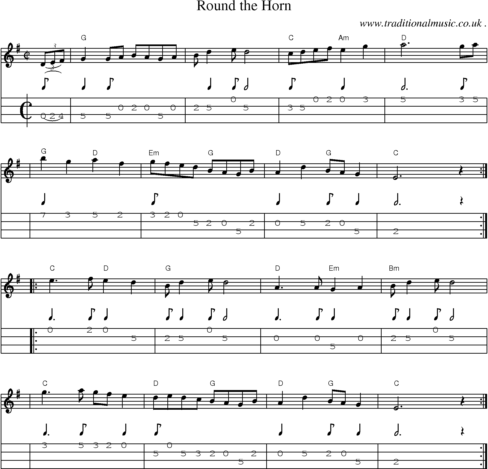 Risk Round The Horn Sheet Music And Mandolin Tab Guitar Chords