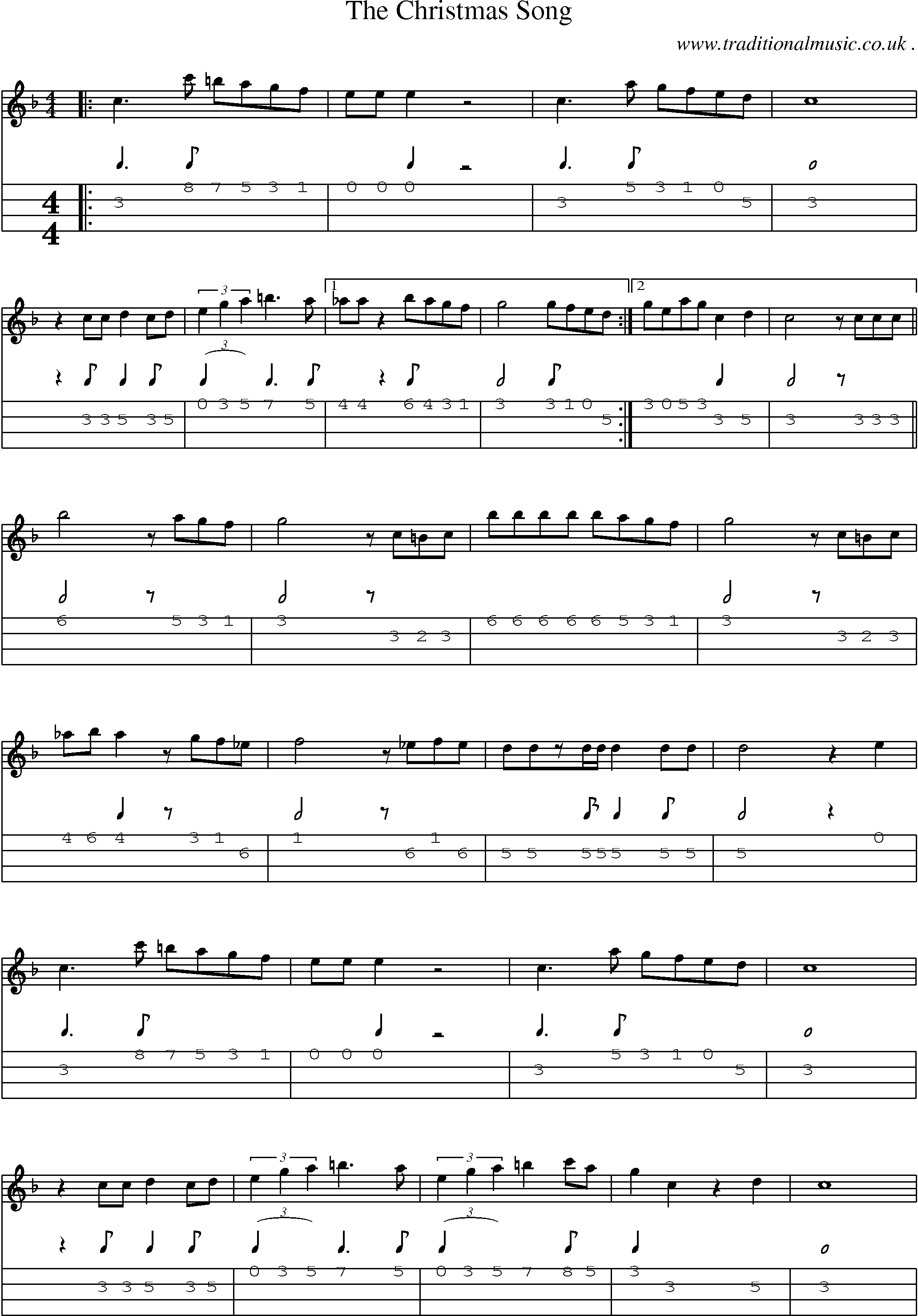 Common session tunes, Sheetmusic, Tabs for Mandolin, midi and mp3 for The Christmas Song