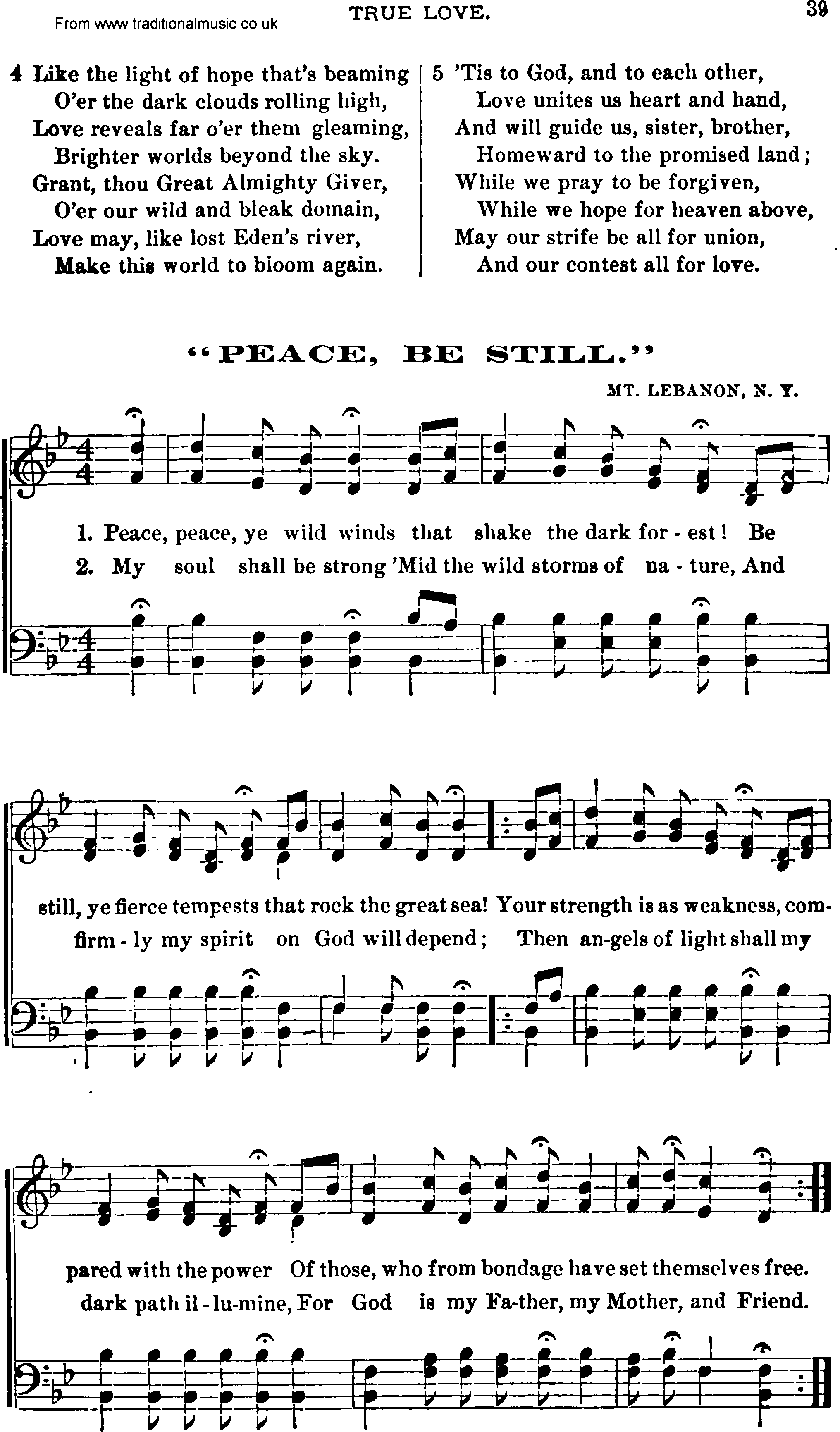 Shaker Music Song Peace Be Still Sheet Music And Pdf