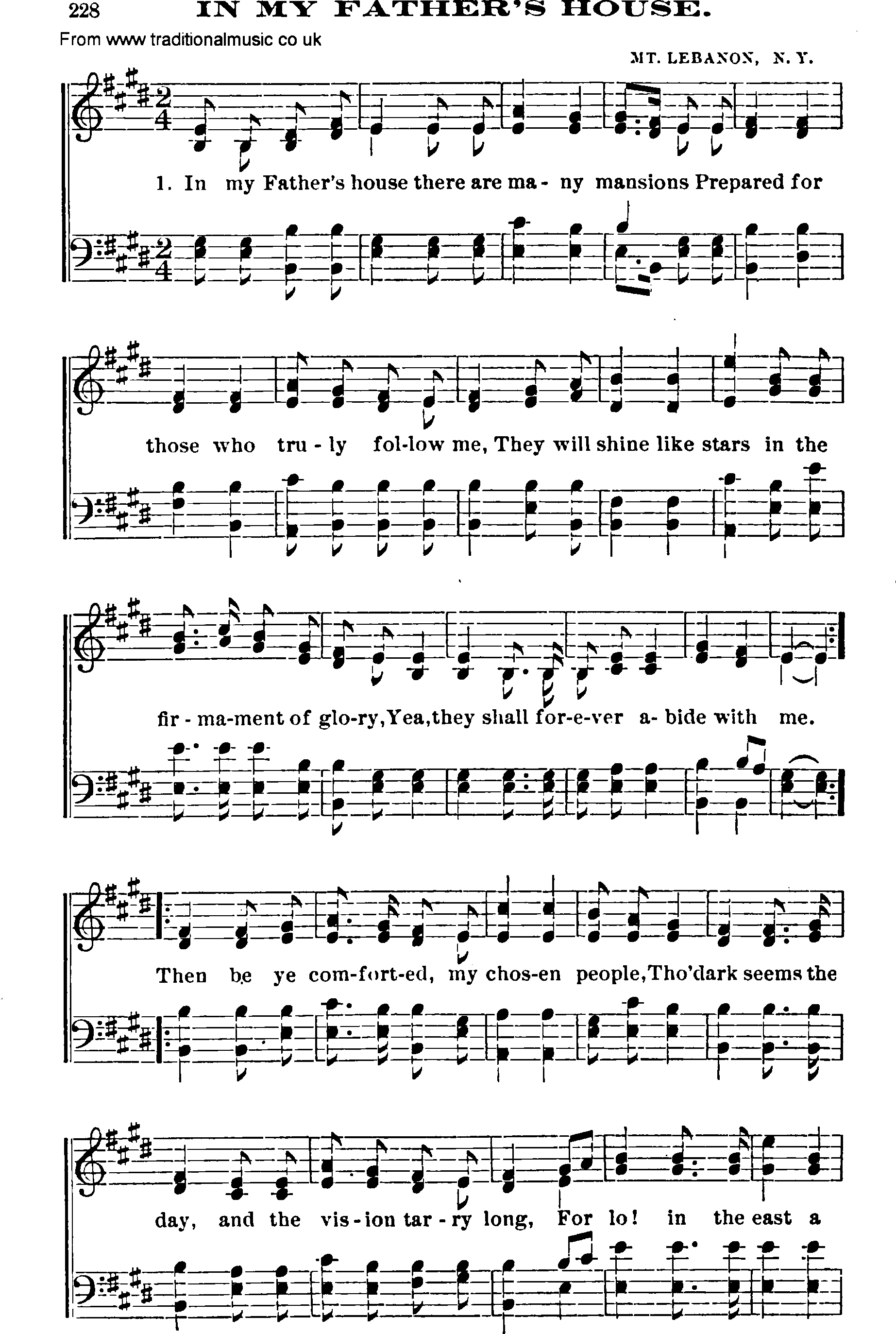 Shaker music song in my fathers house sheet music and pdf for My house house music