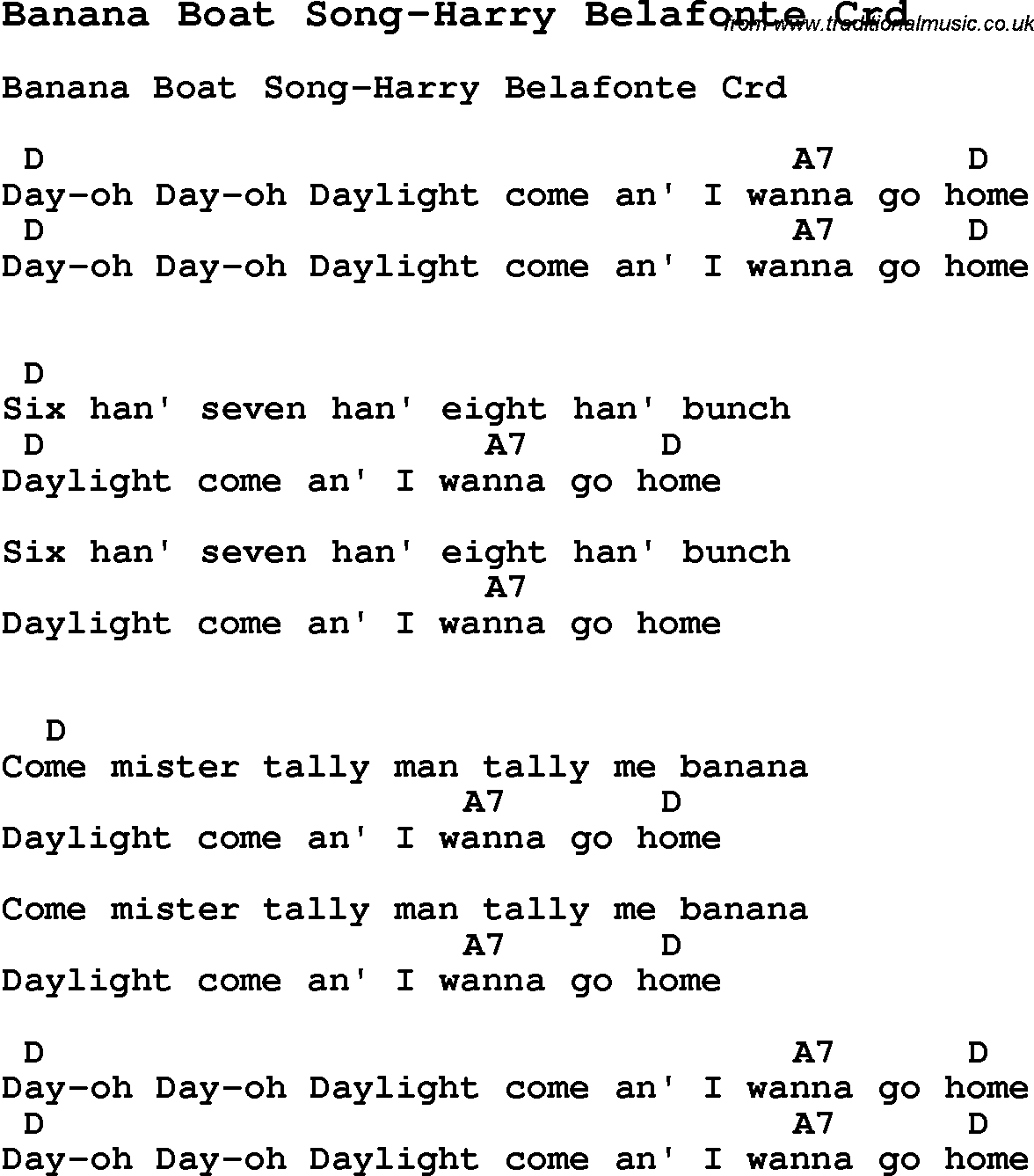 Skiffle lyrics for banana boat song harry belafonte with chords skiffle song lyrics for banana boat song harry belafonte with chords for mandolin ukulele hexwebz Image collections
