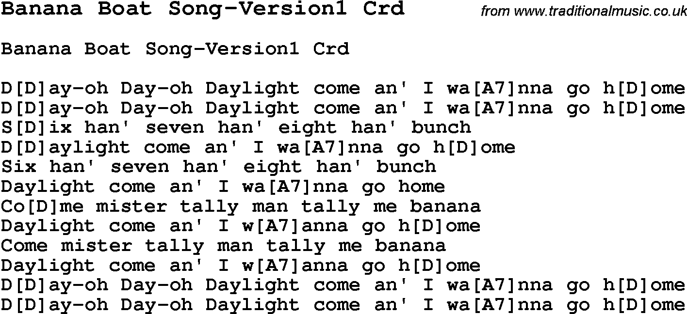 Skiffle lyrics for banana boat song version1 with chords for skiffle song lyrics for banana boat song version1 with chords for mandolin ukulele hexwebz Image collections