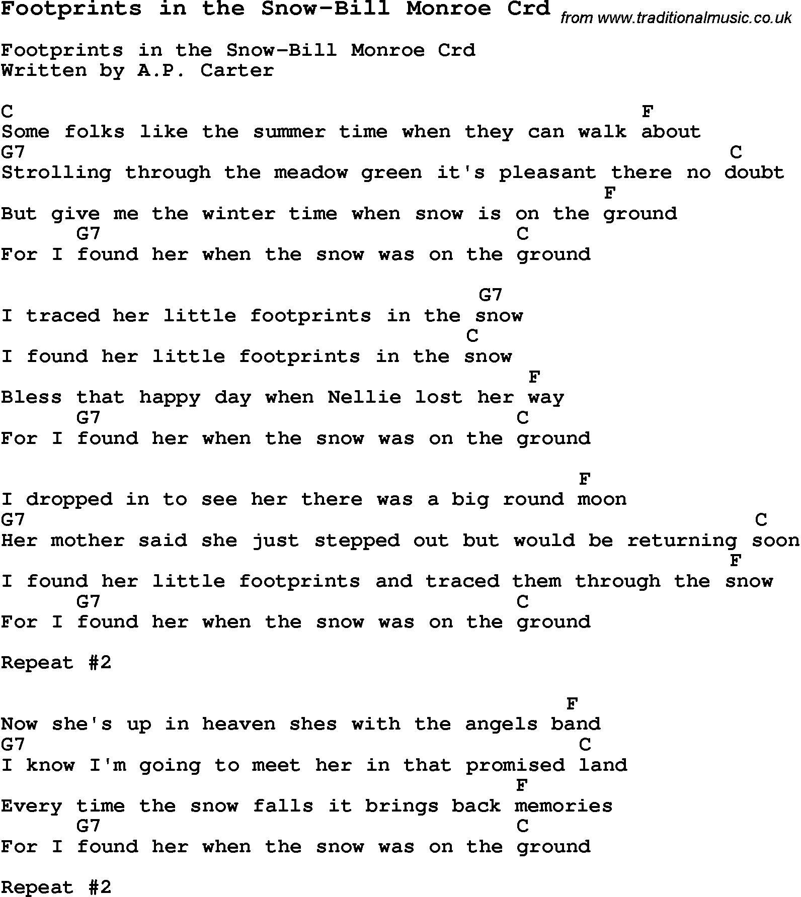 Skiffle Lyrics for: Footprints In The Snow-Bill Monroe with chords for Mandolin, Ukulele, Guitar ...
