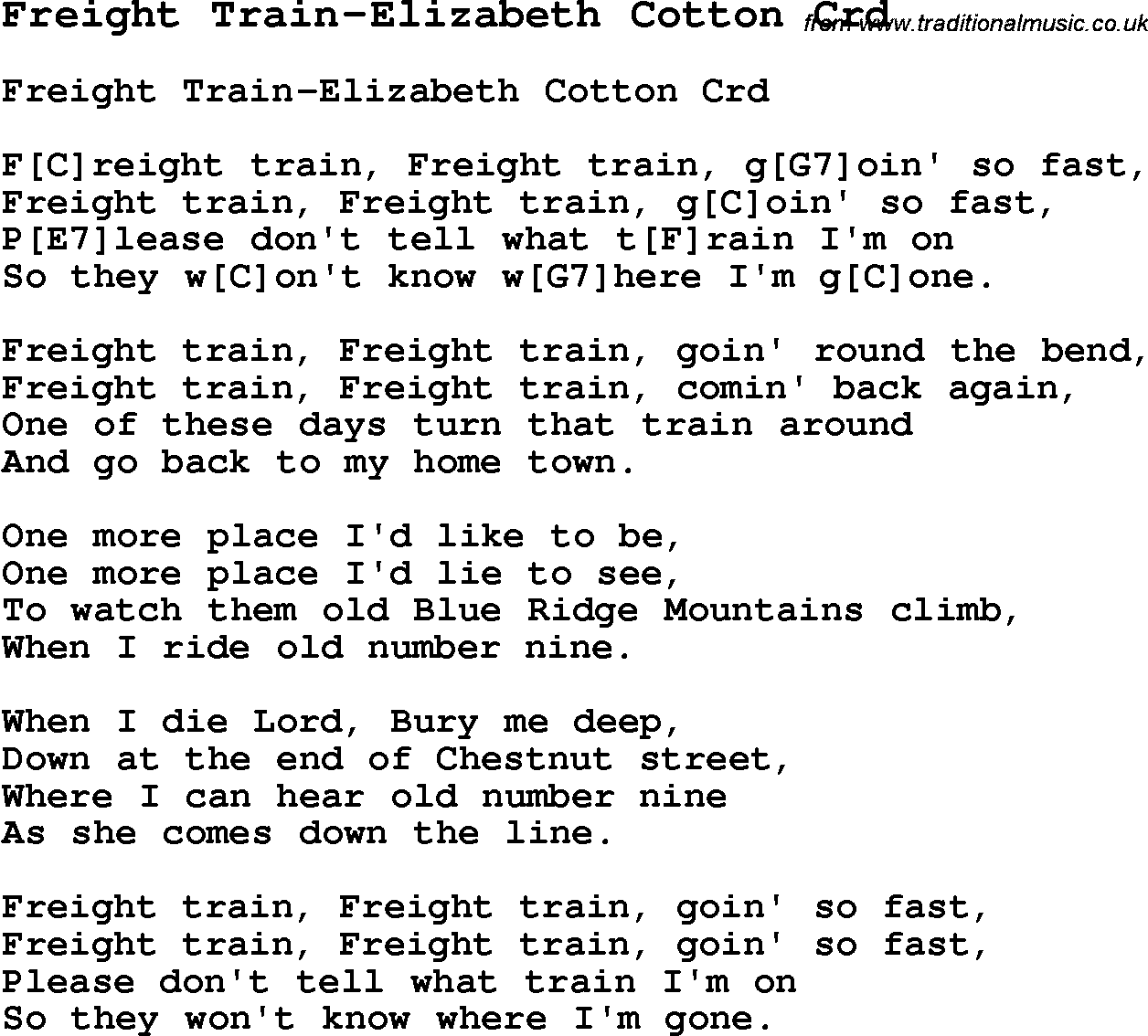 Skiffle lyrics for freight train elizabeth cotton with chords for skiffle song lyrics for freight train elizabeth cotton with chords for mandolin ukulele hexwebz Choice Image