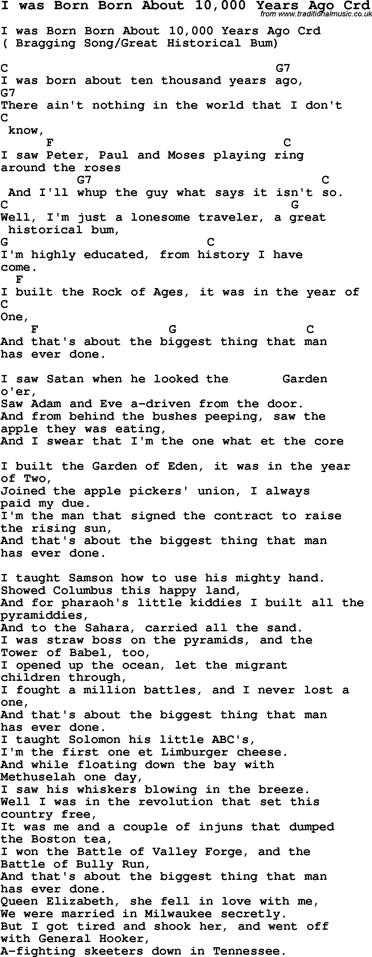 Skiffle Lyrics For I Was Born Born About 10000 Years Ago With