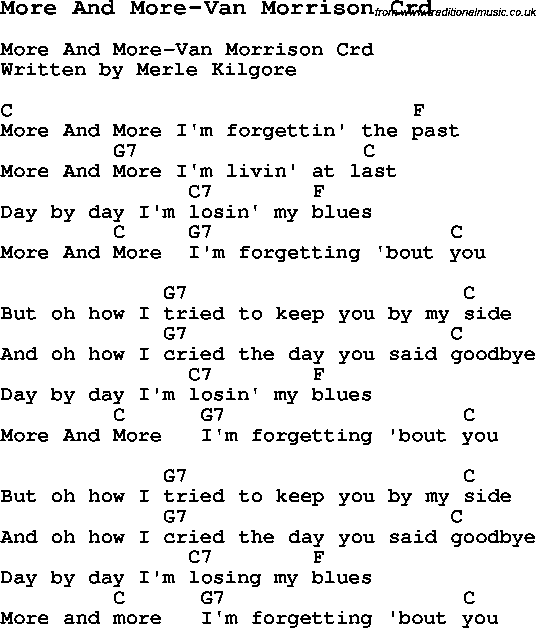 Skiffle Lyrics For More And More Van Morrison With Chords For