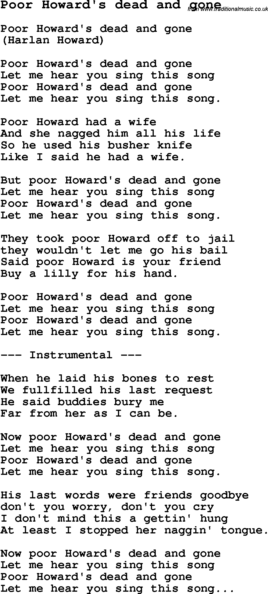 Skiffle Lyrics for: Poor Howardu0026#39;s Dead And Gone