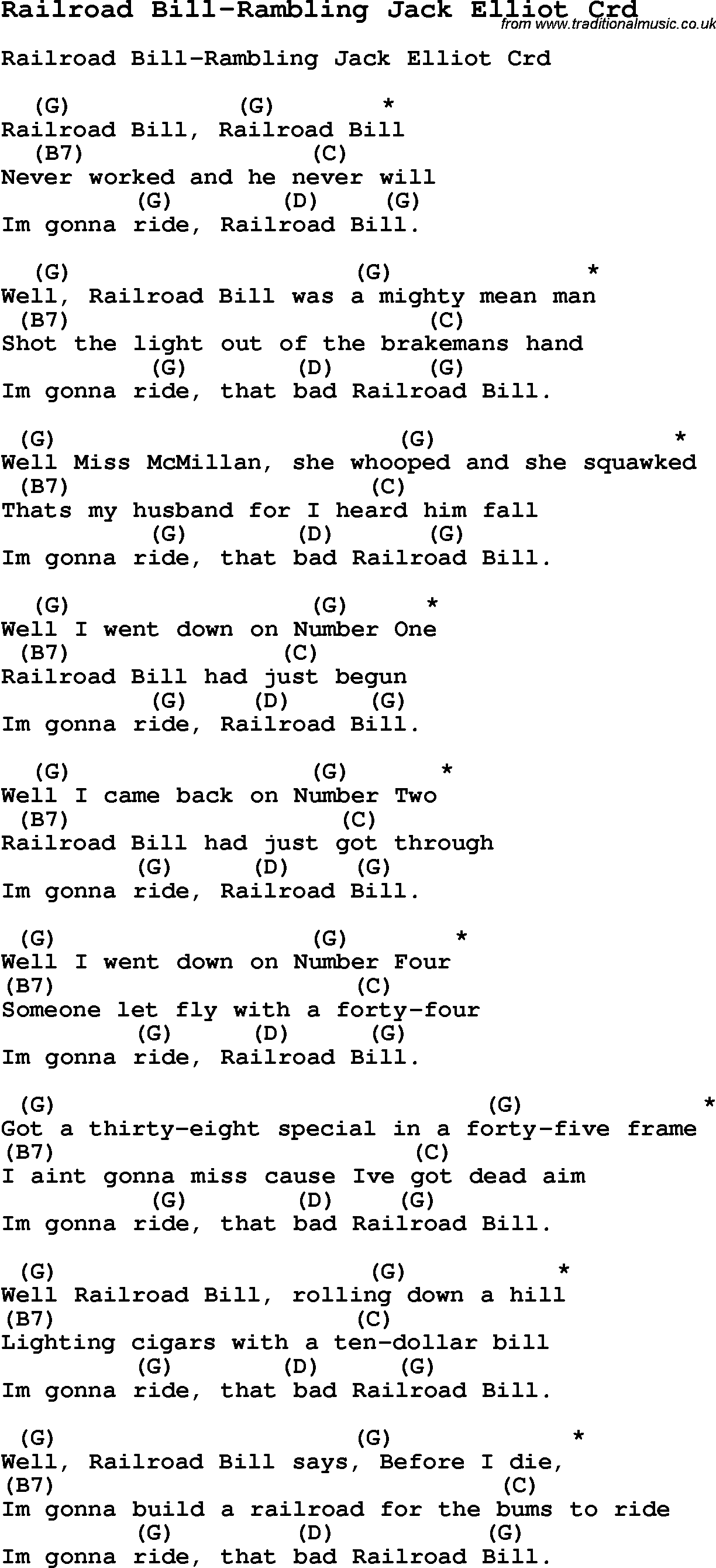 Skiffle Song Lyrics For Railroad Bill Rambling Jack Elliot With Chords For  Mandolin, Ukulele