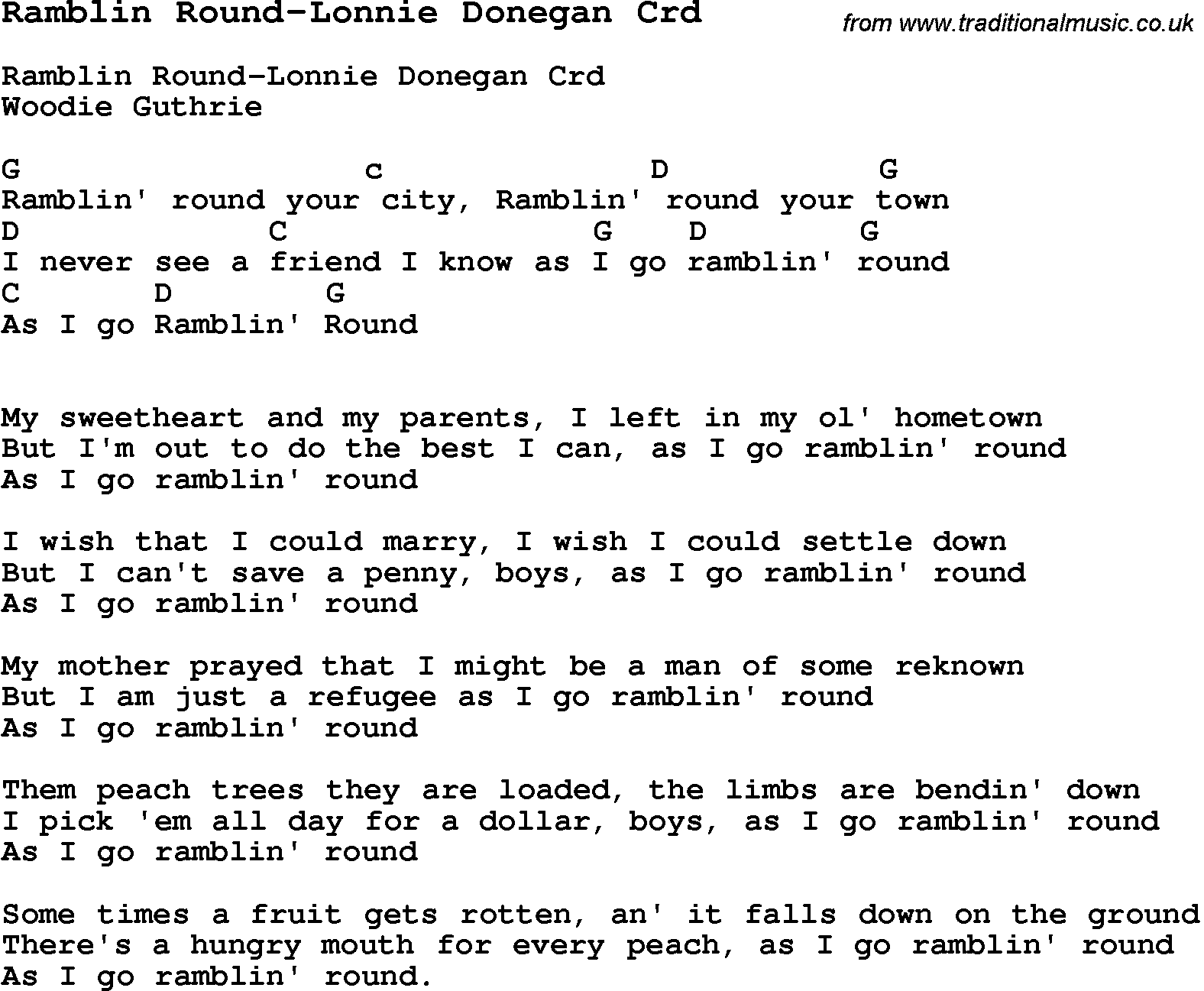 Skiffle Lyrics For Ramblin Round Lonnie Donegan With Chords For