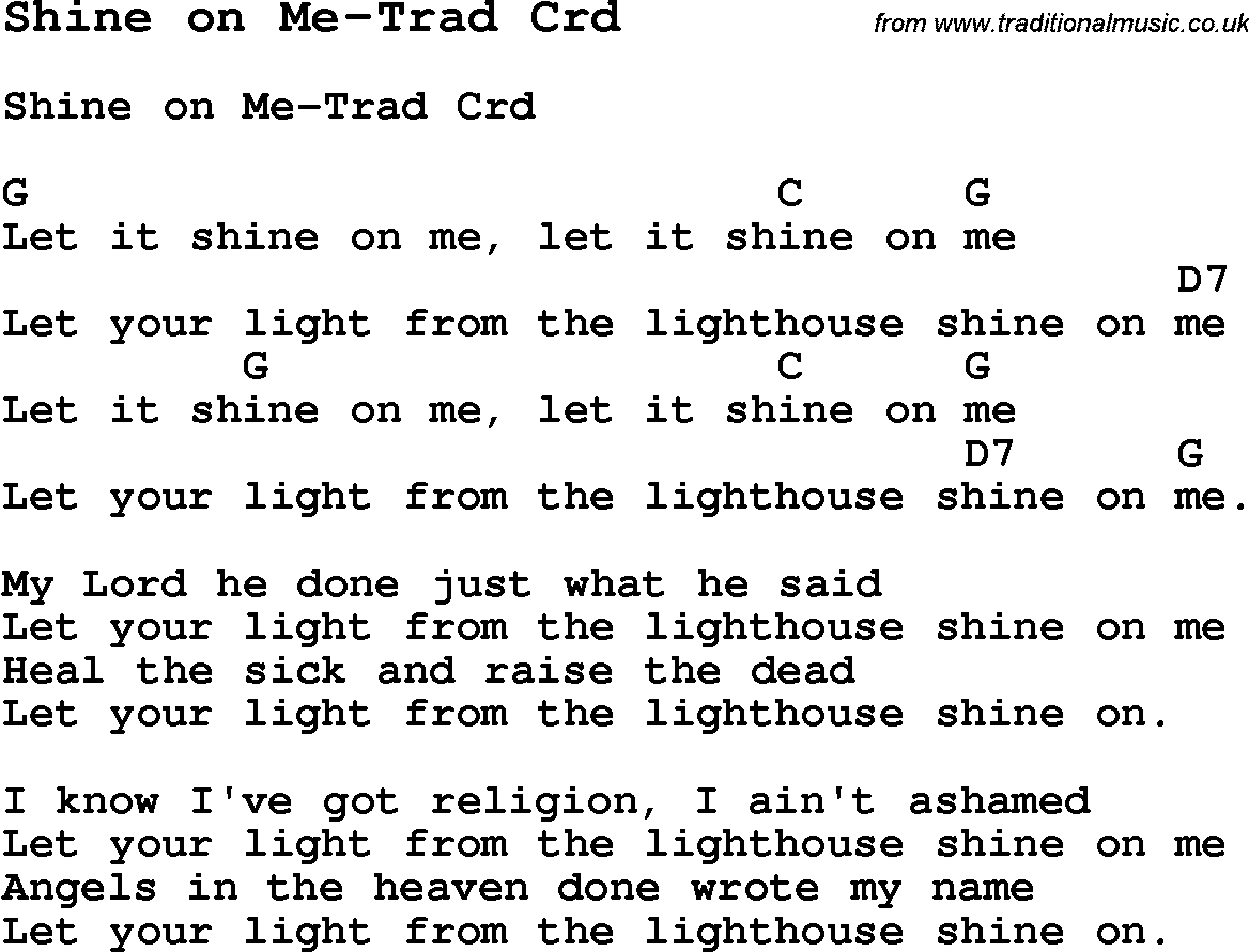 Skiffle Lyrics For Shine On Me Trad With Chords For Mandolin