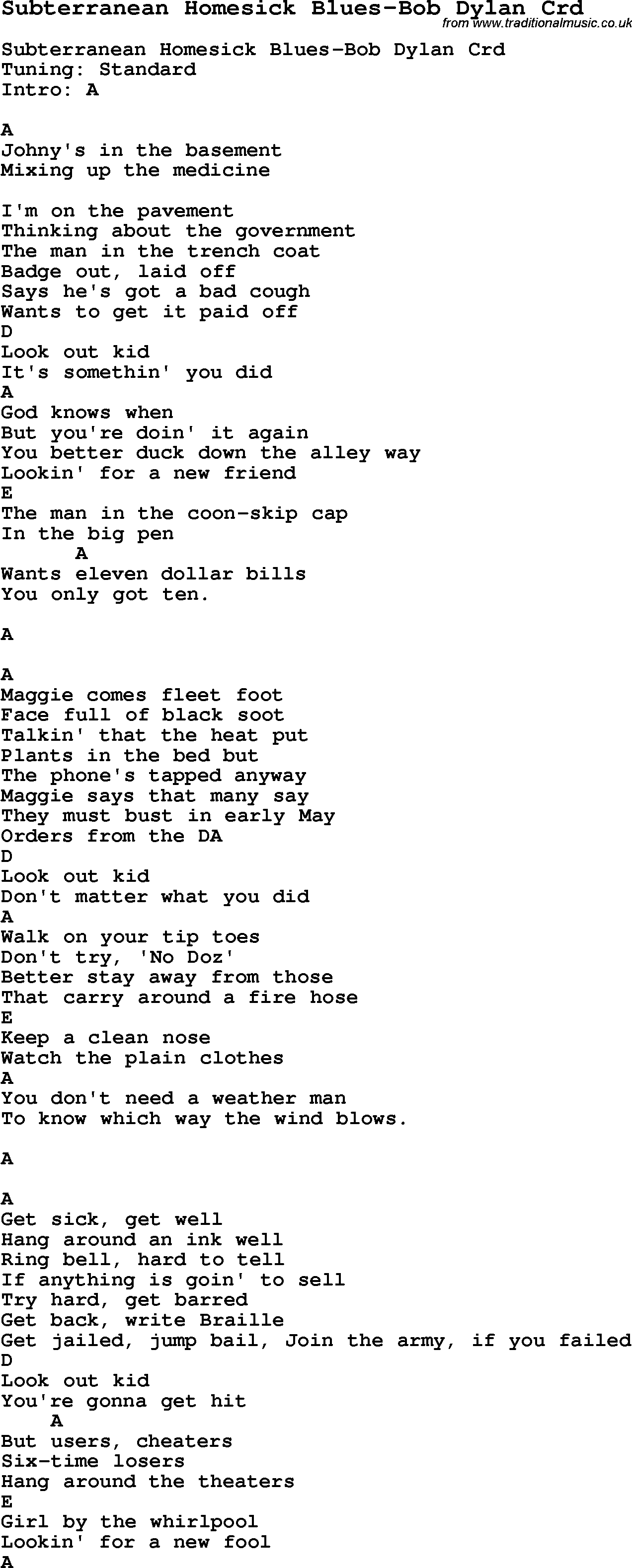 Skiffle lyrics for subterranean homesick blues bob dylan with skiffle song lyrics for subterranean homesick blues bob dylan with chords for mandolin ukulele hexwebz Choice Image