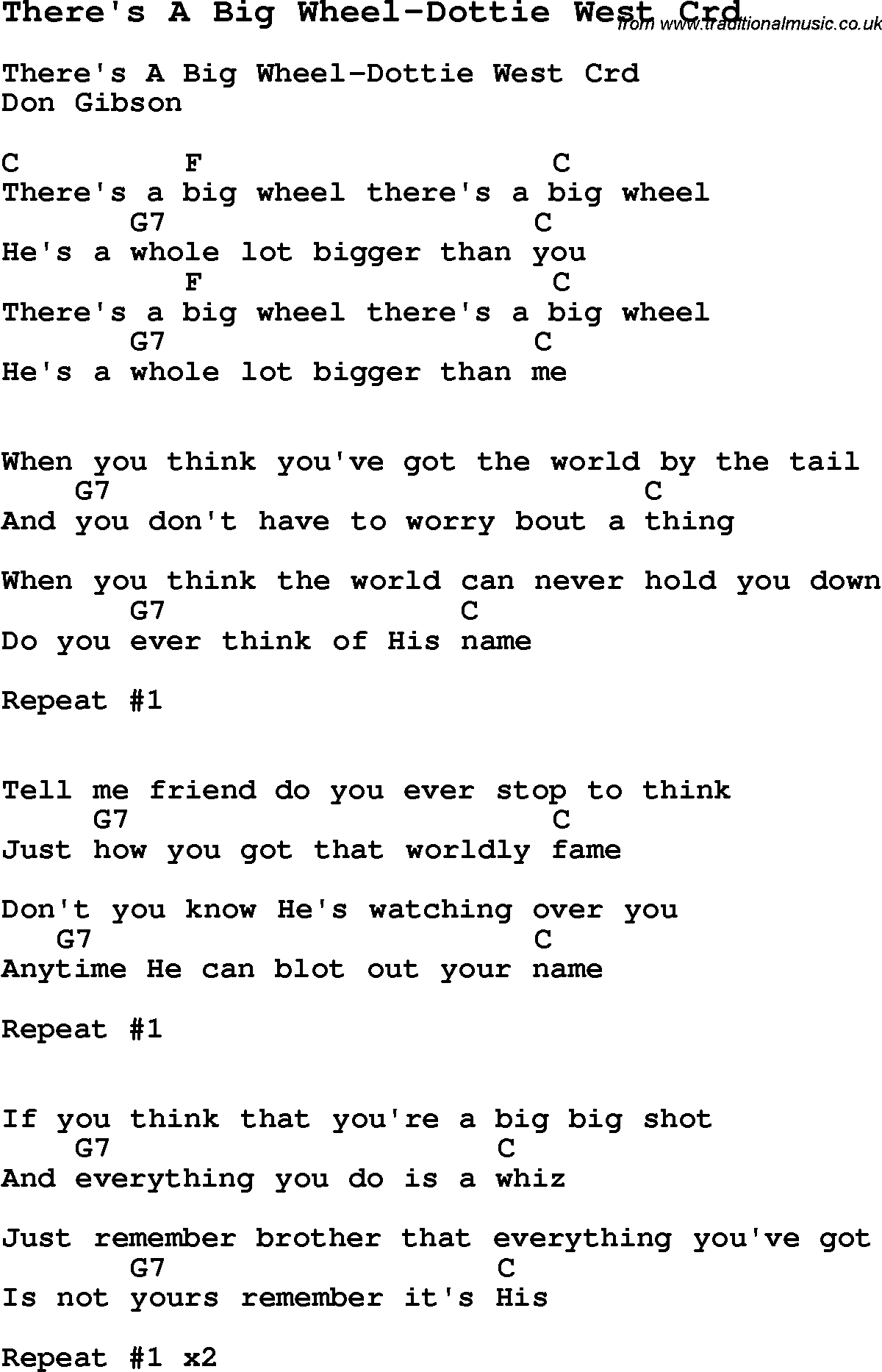 Skiffle Lyrics For Theres A Big Wheel Dottie West With Chords For