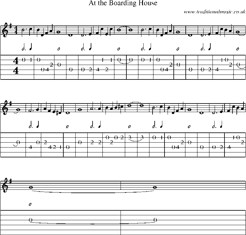 Guitar tab and sheet music for at the boarding house for Classic house music songs