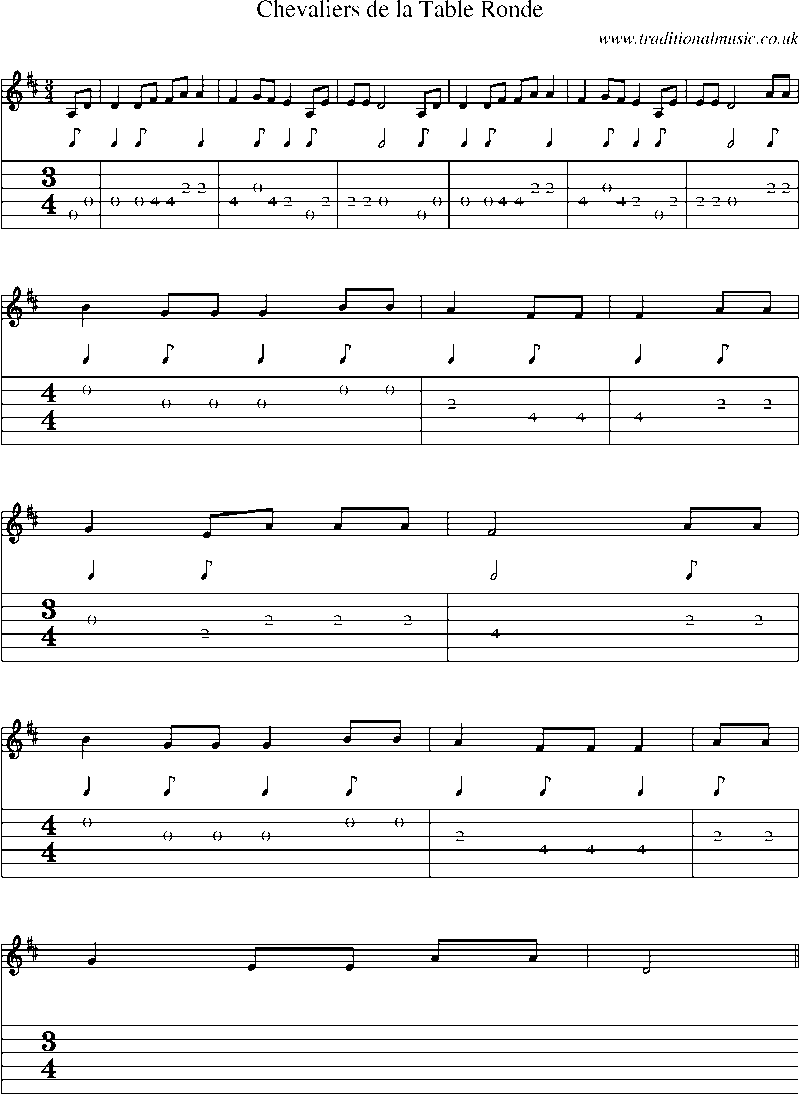 Guitar Tab and sheet music for Chevaliers De La Table Ronde