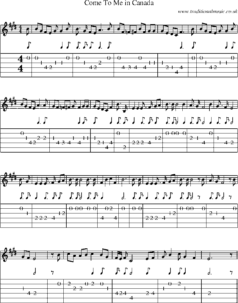 Guitar Tab And Sheet Music For Come To Me In Canada