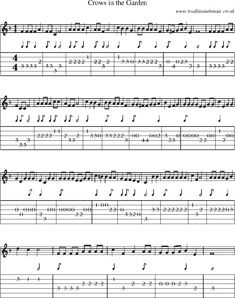 Guitar Tab and sheet music for Crows In The Garden