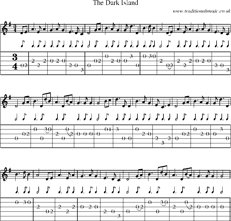 Guitar Tab and sheet music for The Dark Island