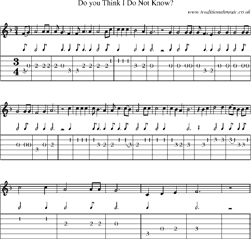 Sheet Music For Knowing Me Knowing You: Guitar Tab And Sheet Music For Do You Think I Do Not Know?
