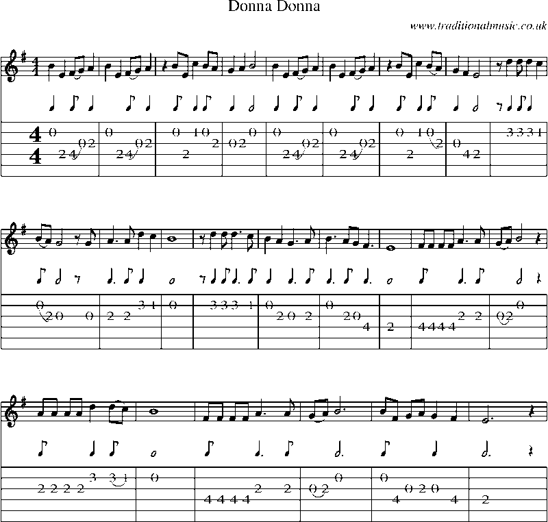 Guitar Tab And Sheet Music For Donna Donna