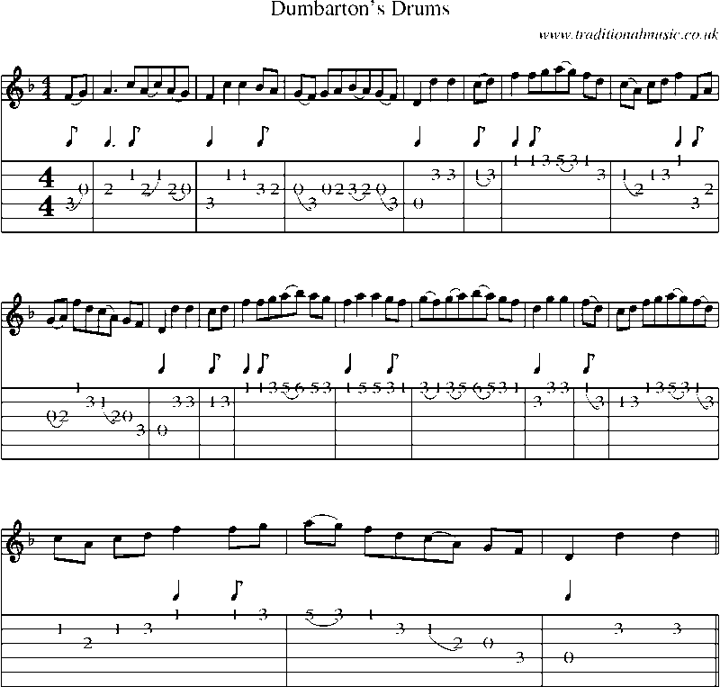 Guitar Tab and sheet music for Dumbarton's Drums