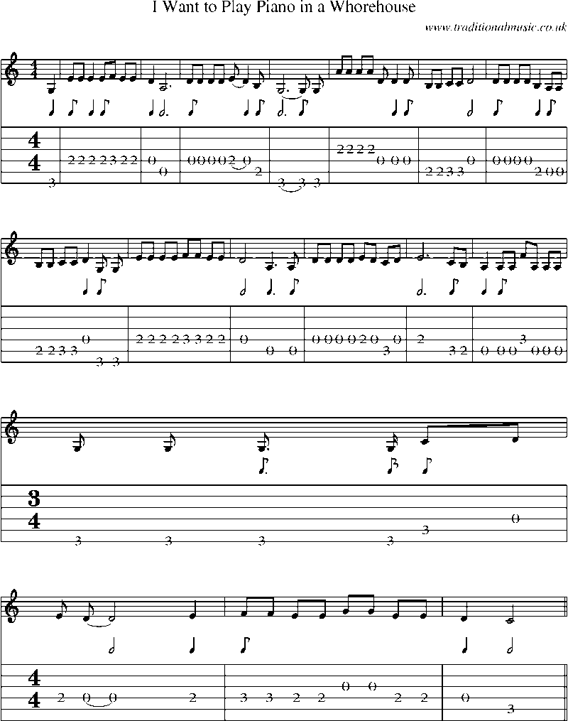 Guitar Tab and sheet music for I Want To Play Piano In A Whorehouse