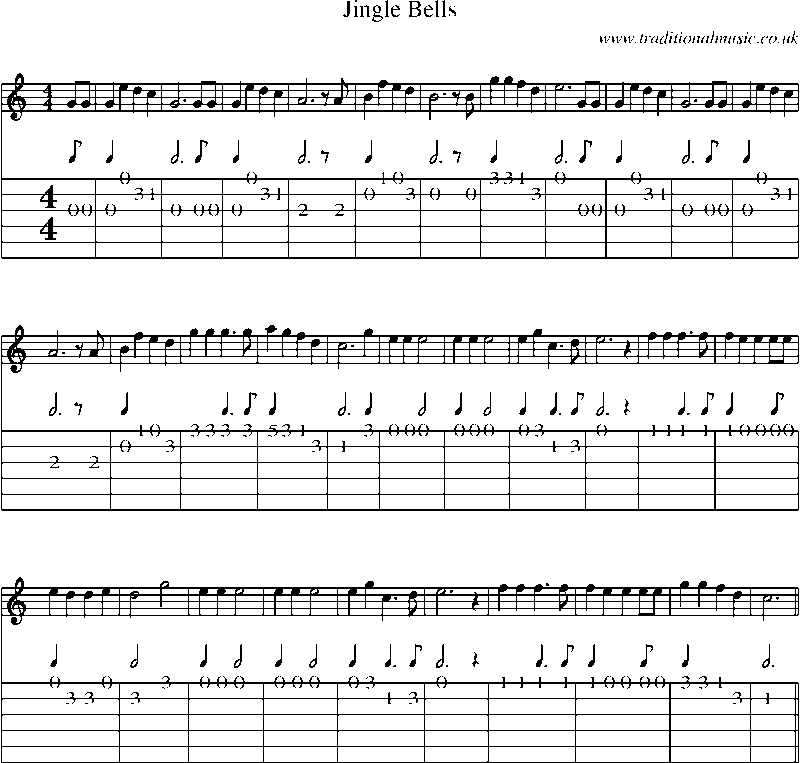 Guitar Tab and Sheet Music for Jingle Bells