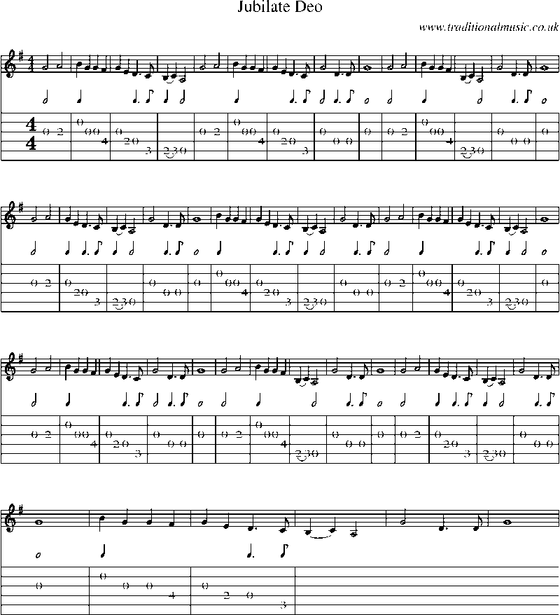 Guitar Tab and sheet music for Jubilate Deo