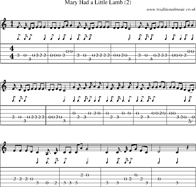Mary Had A Little Lamb Guitar Chords
