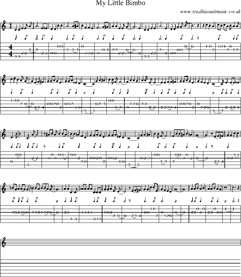 Guitar Tab and sheet music for My Little Bimbo