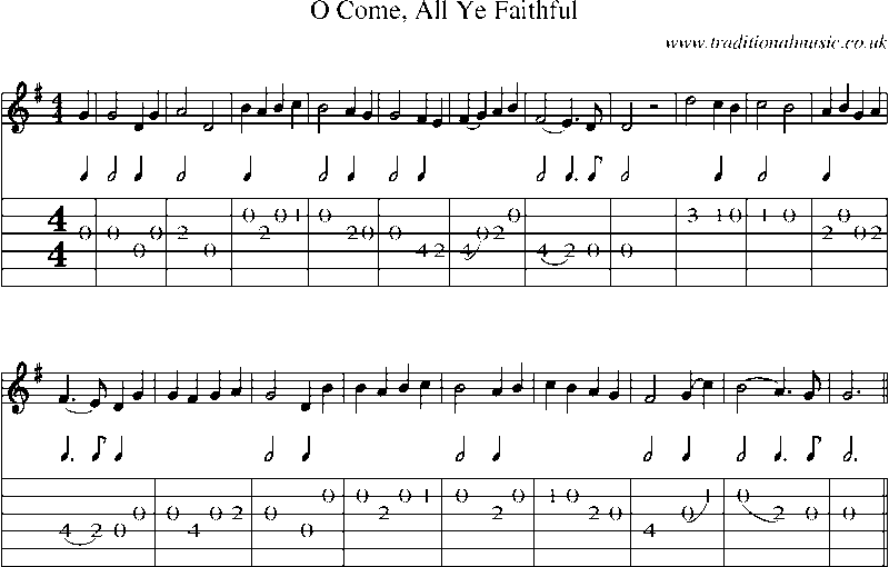 guitar tab and sheet music for o come all ye faithful. Black Bedroom Furniture Sets. Home Design Ideas