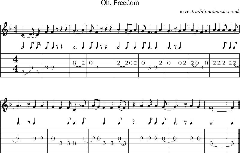 Guitar Tab And Sheet Music For Oh Freedom