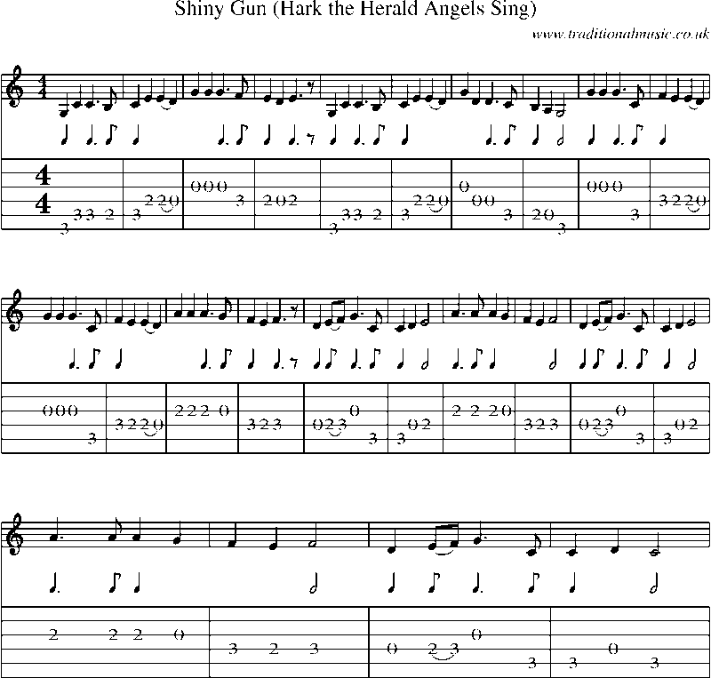 Guitar Tab And Sheet Music For Shiny Gun Hark The Herald Angels Sing