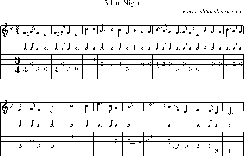 Guitar Tab and sheet music for Silent Night