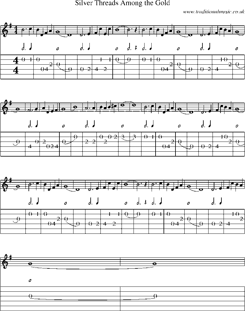 Guitar Tab And Sheet Music For Silver Threads Among The Gold