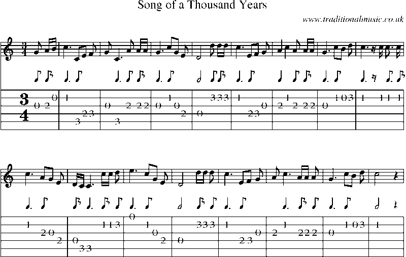 Guitar Tab and sheet music for Song Of A Thousand Years