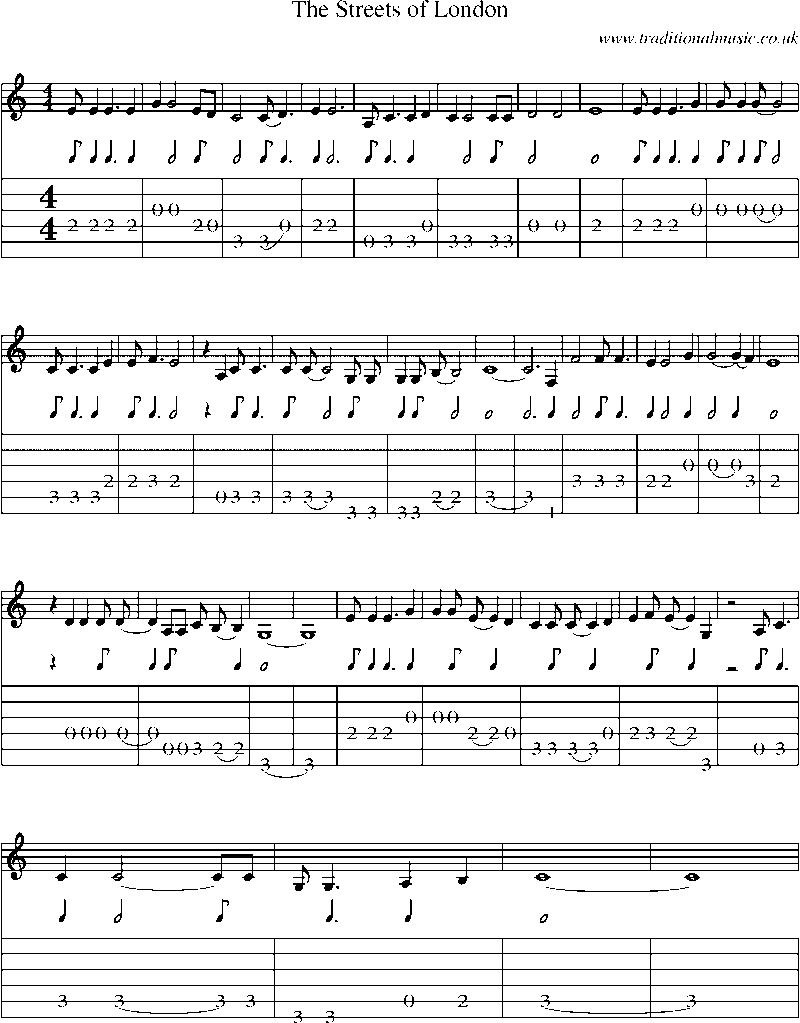 Guitar Tab And Sheet Music For The Streets Of London