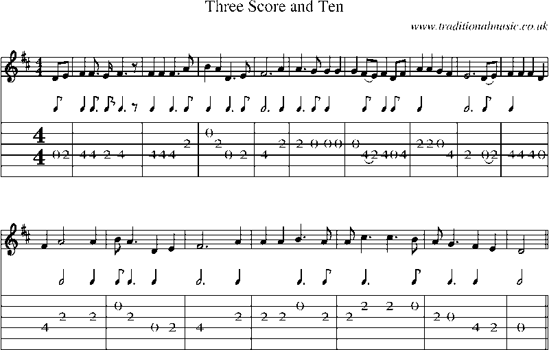 Guitar Tab and sheet music for Three Score And Ten
